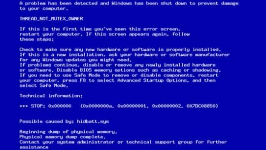 Ошибка синий экран смерти